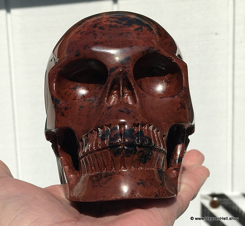 "5.1"" Large Mahogany Obsidian Activated Skull Crystal Healing - Feel Energy"