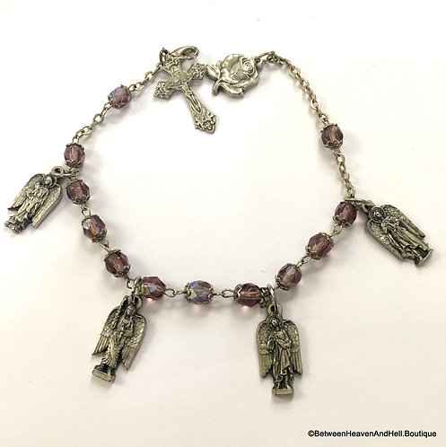 Handmade Aurora Borealis Amethyst Glass beads Archangel Charm Bracelet