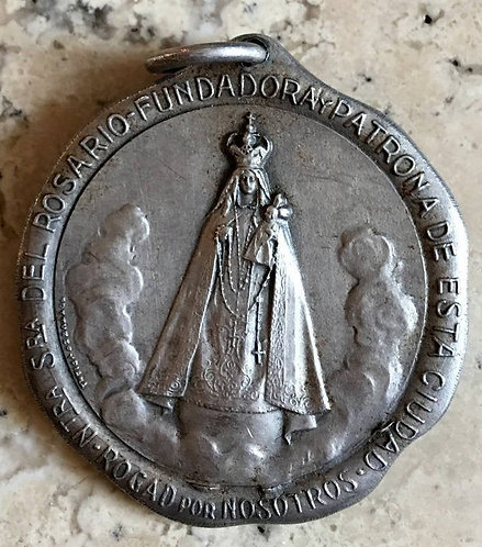 """1.4"""" Antique Holy Medal Madonna and Child Pendant Virgin Mary - Signed GOTTUZZO"""