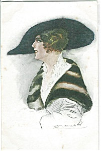 Artist Signed Postcards Mauzan Italy Glamour Lady In Hat