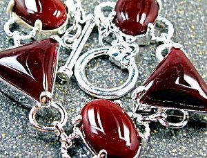 Chunky Carnelian Bracelet Sterling Silver Jewelry