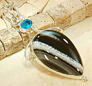 Big Agate Blue Zircon Quartz Gemstone Pendant Sterling Silver