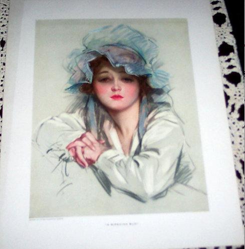 Vintage Harrison Fisher Cosmopolitan Print Country Girl Blue Bonnet Ripening Bud