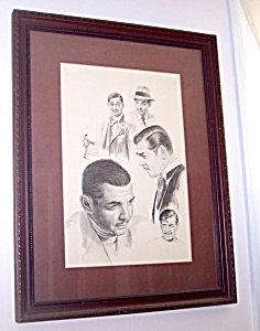 Vintage Lithograph Drawing Clark Gable Glen Fortune Banse