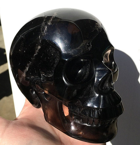 "5.1"" Large Activated Dark Smoky Quartz Crystal Skull, Realistic Sculpture"
