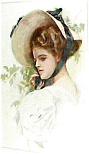 Antique Harrison Fisher Print Edwardian Lady In Big Hat