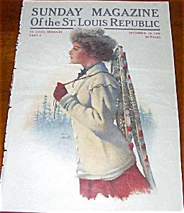 Color Vintage Sunday Magazine Lady Snowshoes Print