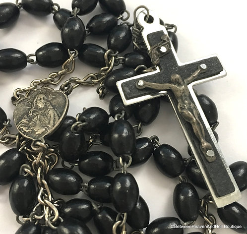"19.5"" Vintage Italian Rosary Beads Men's Catholic Rosaries Our Lady of Fatima"