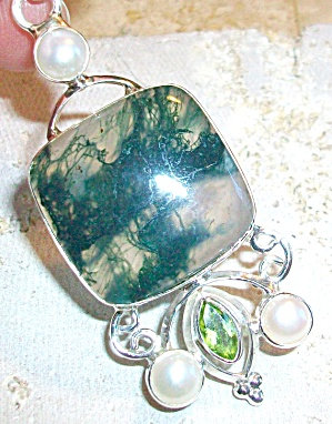 Large Moss Agate Pearl Sterling Silver Artisan Pendant
