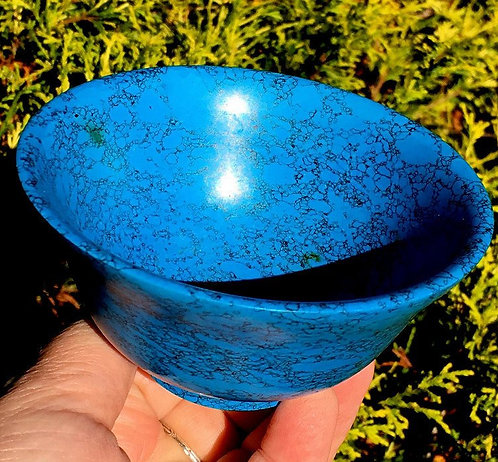 "4"" Large Turquoise Howlite Gemstone Bowl - Spiritual Realm Guidance"