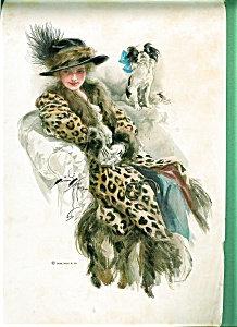 Antique Harrison Fisher Print Edwardian Lady Pekingese Dog