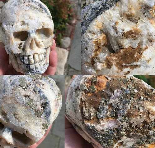 2.12Lb Large Raw Crystal Skull - Snow Quartz with Pyrite and Chalcopyrite