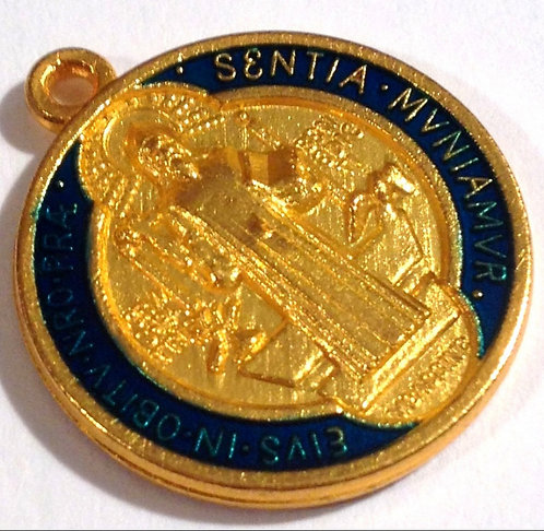 Vintage Holy Medal Gold And Blue Enamel Saint Benedict Men's Religious Jewelry