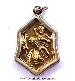 Antique Medal Saint Christopher Child Jesus Catholic Pendant