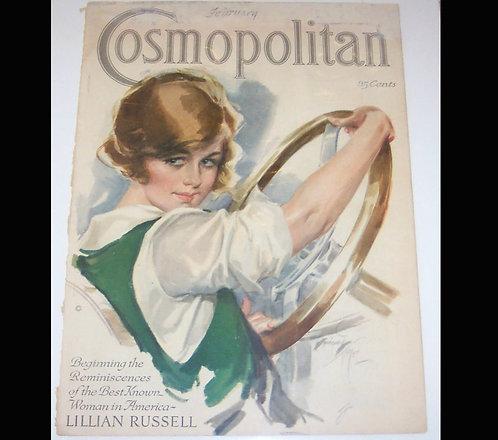 Vintage Harrison Fisher Cosmopolitan Magazine Cover Art Deco Lady Driving