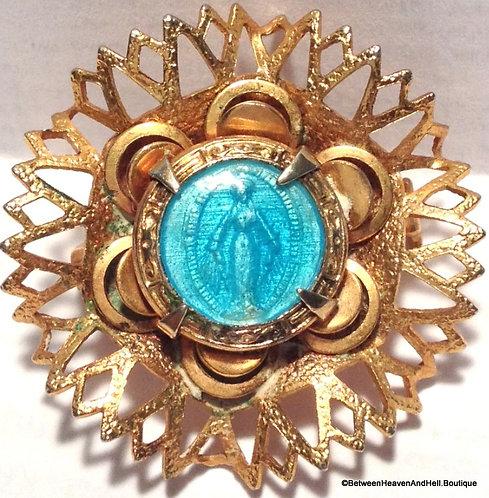 Vintage Catholic Pin Blue Enamel Miraculous Medal Virgin Mary Religious Jewelry