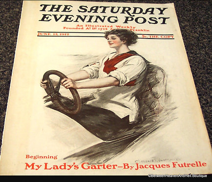 1912 Saturday Evening Post Magazine Cover Art: Clarence Underwood Lady Auto