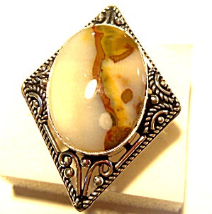 Huge Agate Ring Sterling Silver 8