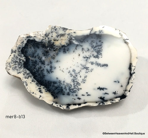 """4.5"""" Black & White Agate Dendritic Opal Merlinite Crystal Contact the Dead"""