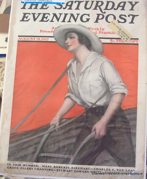 1917 Saturday Evening Post Magazine Cover Art WWI era Farm Lady Pushing Plow