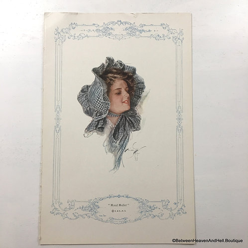 1913 Vintage Art Print, country Victorian Woman In Blue Gingham Bonnet