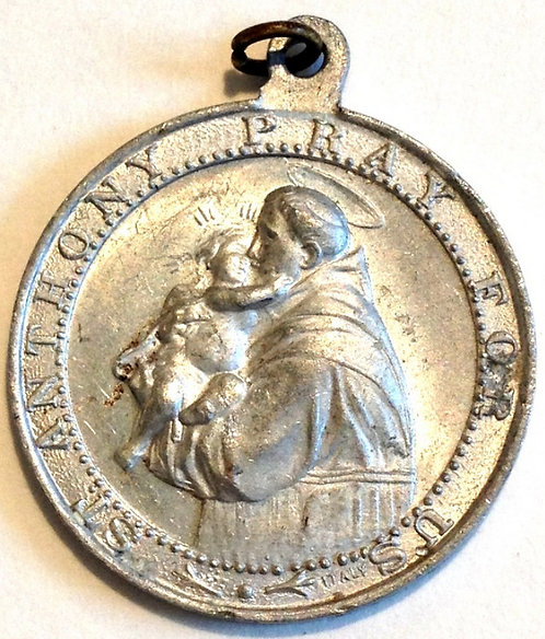 Vintage Holy Medal: Saint Anthony St. Francis Religious jewelry Catholic Pendant