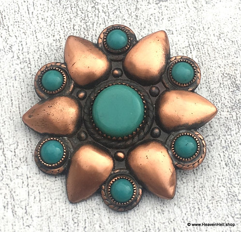 Vintage Turquoise And Copper Brooch Pin, Artisan Handcrafted Jewelry