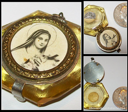 Vintage Saint Therese of the Child Jesus Locket Pendant Glass Prayer Necklace