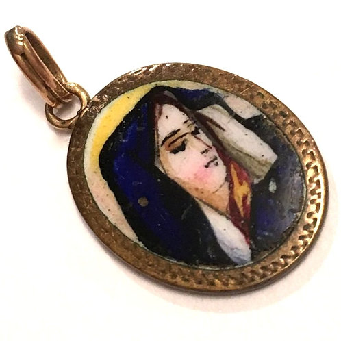 Vintage Handpainted Enamel Holy Medal Virgin Mary of Sorrows Religious Jewelry