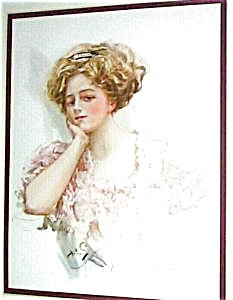 Harrison Fisher Print Victorian Lady In Pink 1909