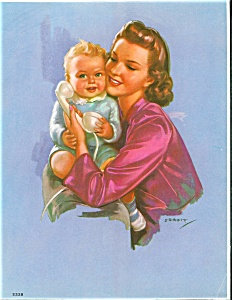 Vintage Print Baby And Mother Jules Erbit