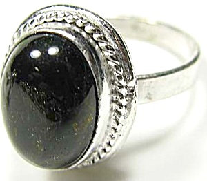 Oval Black Onyx Ring Sterling Silver Size 9