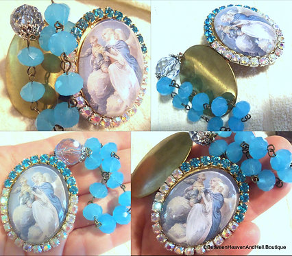 Rhinestone Cameo Heavens Angel holding Child Prayer Beads & God Box Locket