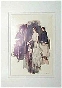 Howard Chandler Christy Print: Victorian Lady & Man, Parlor