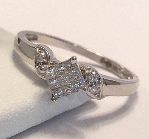 14k White Gold Minimalist Diamond Ring Size 7 - Art Deco Style