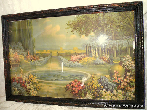 1920's Vintage R Atkinson Fox Art Deco Garden Print Nature's Beauty, framed
