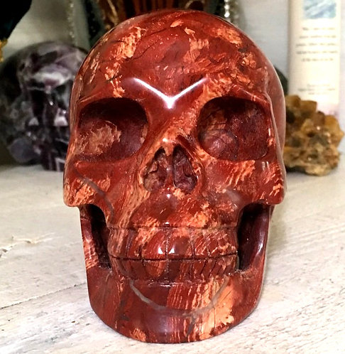 "5.2"" Large Red Snake Skin Jasper Skull Activated Karma Clearing New Beginnings"