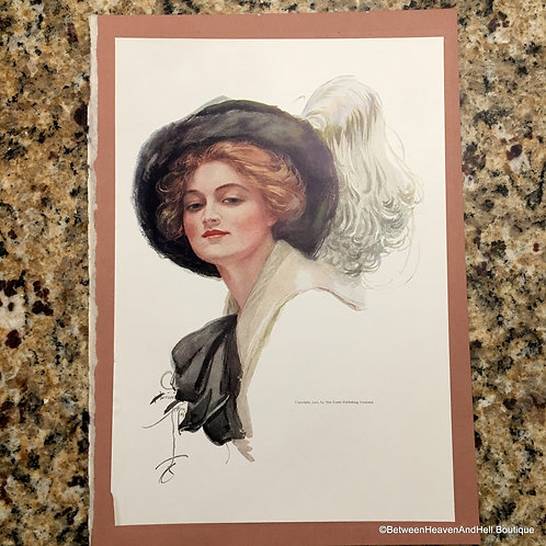 1911 Vintage Art Print Harrison Fisher Edwardian Woman in Feathered Hat
