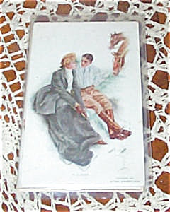 Antique Postcards Harrison Fisher Equestrian In Clover Horse