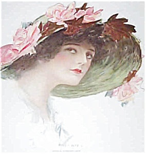 Victorian Lady Print Fashion Hat Pink Roses Henry Hutt