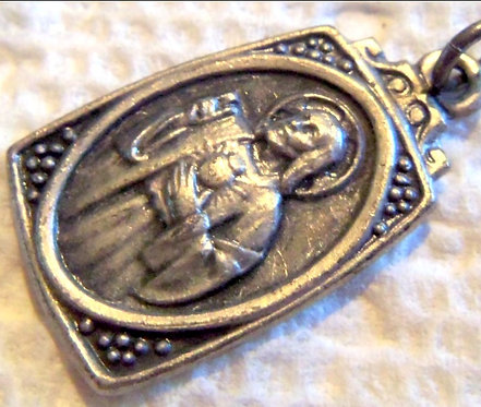 Vintage Scapular Medal Sacred Heart of Jesus Our Lady Religious Pendant