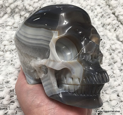 Large Banded Blue Onyx Agate Quartz Crystal Skull Automatic Writing Psychic Work