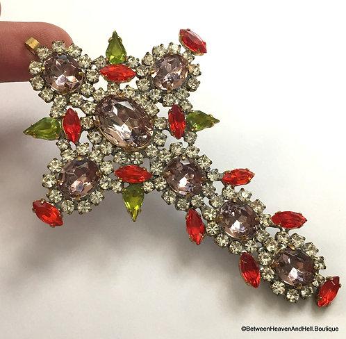 "4.25"" Large Red and Purple Rhinestone Cross Pendant BOHO chic Jewelry"