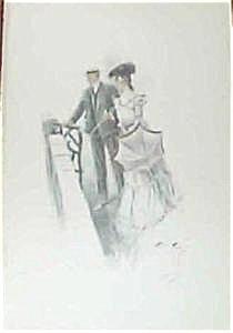 1903 Harrison Fisher Illustration Print Victorian Couple