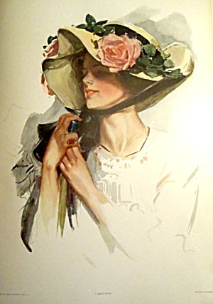 Edwardian Pink Roses Lady Harrison Fisher Print Spring Maiden