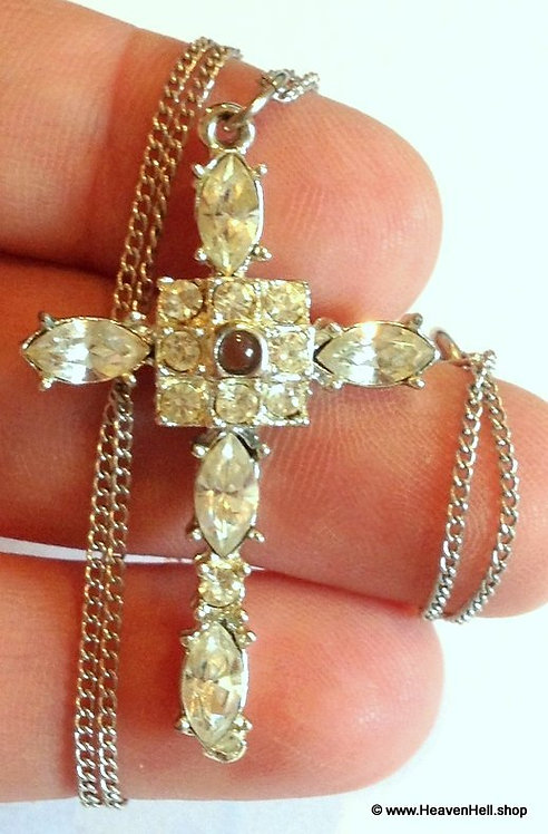 Vintage Religious Ladies Marquise Rhinestone Cross Necklace Christian Jewelry
