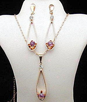14k Rose Gf Amethyst Long Earrings Pendant Necklace Set