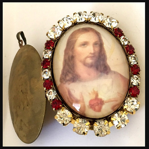 "2"" Sacred Heart Of Jesus Catholic Jewelry Rhinestone Cameo prayer Locket Pendant"
