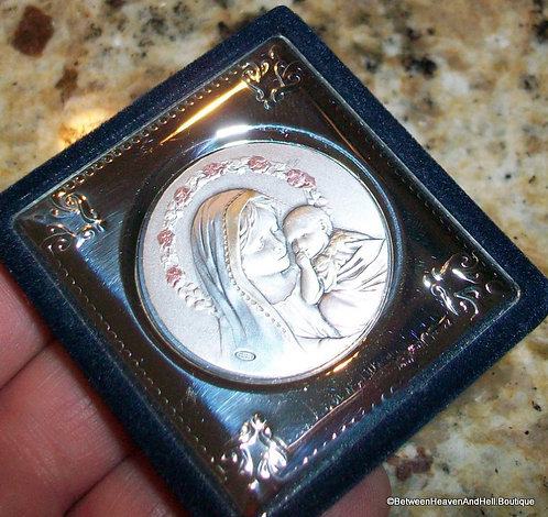 Religious Icon Sterling Silver Enamel Baby Jesus Virgin Mary, Madonna and Child