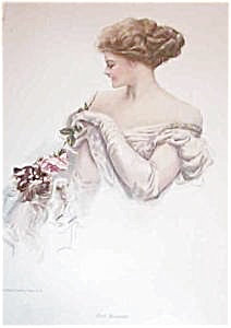 Victorian Lady Tickling Kitten With Rose Harrison Fisher Print